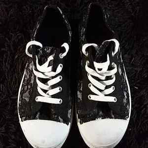 Black and White lace tennis shoes
